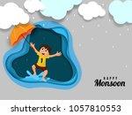happy kid  enjoying rainy... | Shutterstock .eps vector #1057810553