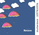 happy monsoon concept with... | Shutterstock .eps vector #1057810556