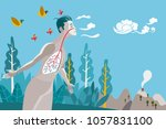 man breathing in a natural and... | Shutterstock .eps vector #1057831100
