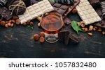 a glass of cognac  brandy ... | Shutterstock . vector #1057832480