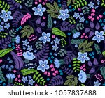 seamless floral pattern with... | Shutterstock .eps vector #1057837688