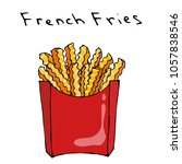 wave form french fries in a red ... | Shutterstock .eps vector #1057838546