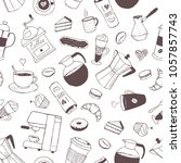 seamless pattern with coffee... | Shutterstock .eps vector #1057857743