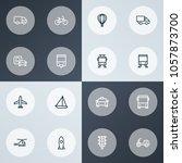 shipment icons line style set... | Shutterstock .eps vector #1057873700