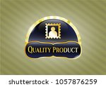 gold badge or emblem with... | Shutterstock .eps vector #1057876259