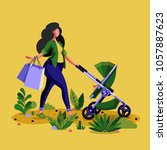 young mother pushing her child... | Shutterstock .eps vector #1057887623