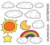 vector set of things in the sky | Shutterstock .eps vector #1057889600