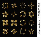 set of gold elements of... | Shutterstock .eps vector #1057889636