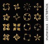 set of gold elements of... | Shutterstock .eps vector #1057889636
