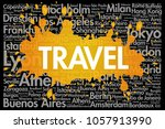 travel word cloud concept made... | Shutterstock . vector #1057913990