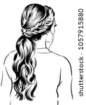 woman with messy ponytail | Shutterstock .eps vector #1057915880