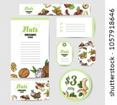 set of cards with fresh nuts....   Shutterstock .eps vector #1057918646