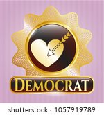 shiny badge with love icon ... | Shutterstock .eps vector #1057919789