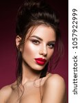 gorgeous young brunette woman... | Shutterstock . vector #1057922999
