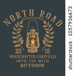 north road .vintage poster... | Shutterstock .eps vector #1057936673