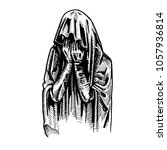 crying woman tombstone  eps 8 | Shutterstock .eps vector #1057936814