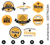 set of honey and bee labels for ... | Shutterstock .eps vector #105796184