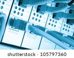 close up of network cables...   Shutterstock . vector #105797360