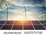 solar panels with wind turbines ... | Shutterstock . vector #1057975700