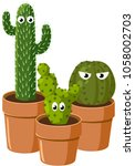 spiny green cactus with eyes....   Shutterstock .eps vector #1058002703