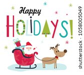 colorful christmas card with... | Shutterstock .eps vector #1058005049