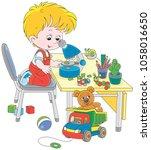 little boy as a researcher and... | Shutterstock .eps vector #1058016650