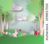 vector abstract paper cut... | Shutterstock .eps vector #1058017010