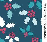holly pattern. endless vector...   Shutterstock .eps vector #1058024153