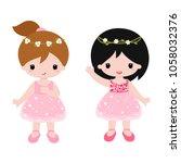 cute baby ballerinas in pink... | Shutterstock .eps vector #1058032376