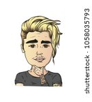 cool cartoon man with a... | Shutterstock .eps vector #1058035793