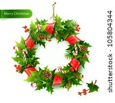 christmas wreath with fir and... | Shutterstock .eps vector #105804344