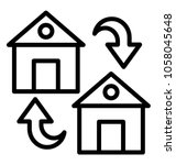 two houses with circular arrows ... | Shutterstock .eps vector #1058045648