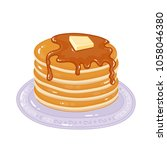 pancakes with maple syrup and... | Shutterstock .eps vector #1058046380