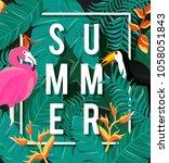 tropical flowers background.... | Shutterstock .eps vector #1058051843