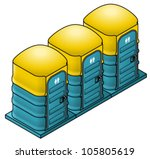 a row of three portable toilets ... | Shutterstock .eps vector #105805619