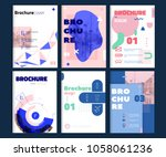 set of brochure cover templates ... | Shutterstock .eps vector #1058061236