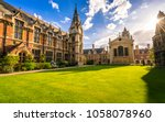 the old library and clock tower ... | Shutterstock . vector #1058078960