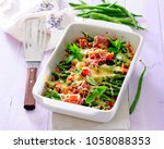 green bean  ham  and vegetable... | Shutterstock . vector #1058088353