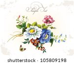 Stock vector vintage postcard with beautiful flowers 105809198