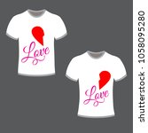 t shirt for couple with heart... | Shutterstock .eps vector #1058095280