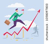 businessman is running on the... | Shutterstock .eps vector #1058097803