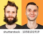 young guy with beard and... | Shutterstock . vector #1058101919