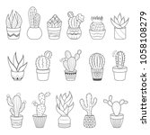 set of 16 cactuses and... | Shutterstock .eps vector #1058108279