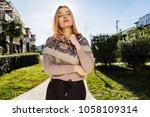 beautiful young blonde girl... | Shutterstock . vector #1058109314