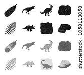 sea dinosaur triceratops ... | Shutterstock .eps vector #1058113058