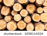 firewood for the winter  stacks ... | Shutterstock . vector #1058114324