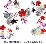 white background  mix flowers... | Shutterstock . vector #1058120153