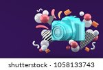 blue camera surrounded by... | Shutterstock . vector #1058133743