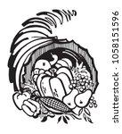 cornucopia   retro clip art... | Shutterstock .eps vector #1058151596