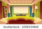 vector cartoon home theater...   Shutterstock .eps vector #1058154860